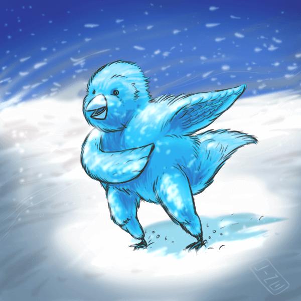 Fluffer the blue bird