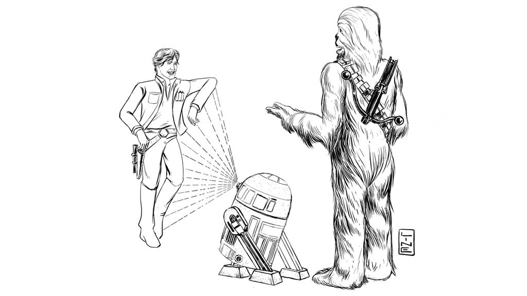 Star Wars Trio R2D2 Chewbacca Han Solo